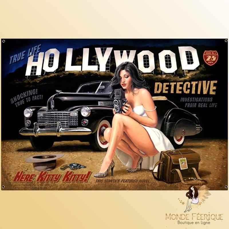 Plaque Mur Hollywod Vintage Décoration -- 20x30cm