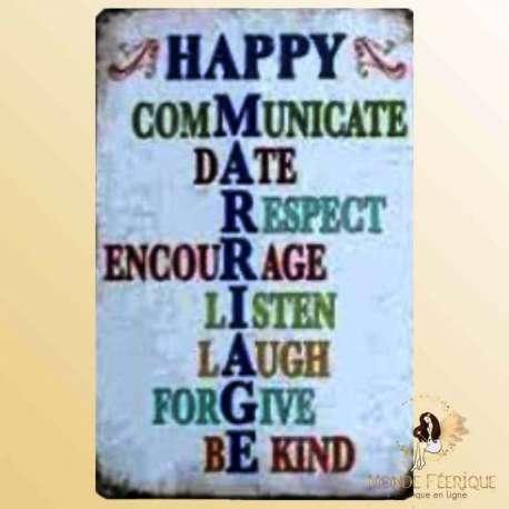 plaque decoration mariage heureux