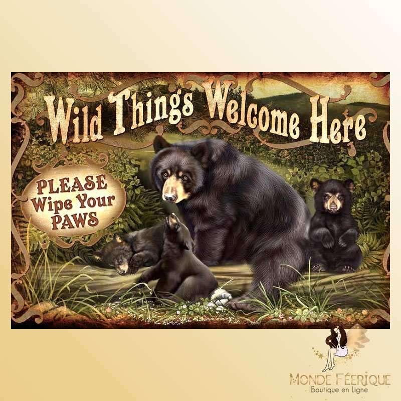 Plaque Mur Ours Publicité zoo Décoration -- 20x30cm