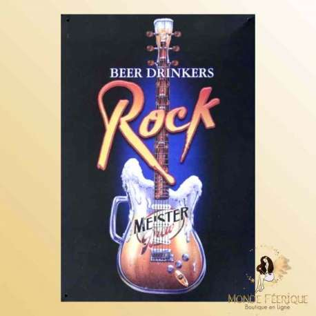 plaque decoration mur murale rock guitare biere