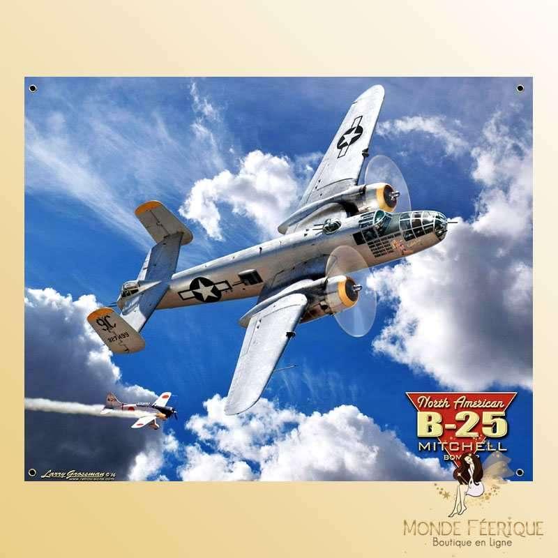 Plaque Mur Avion B25 Décoration -- 20x30cm