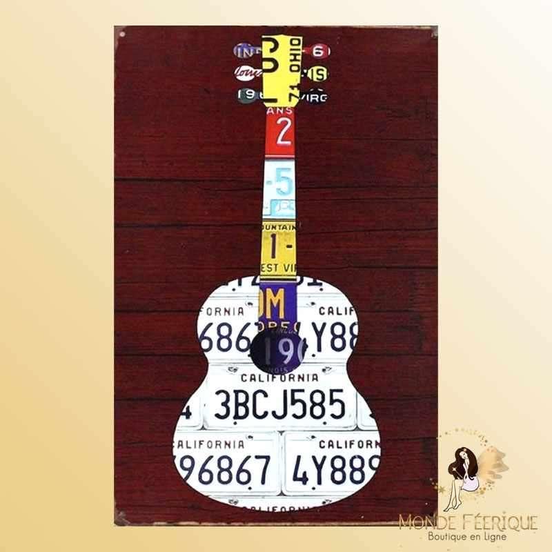 Plaque Mur Guitare Décoration -- 20x30cm