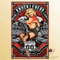 Plaque Mur Pin Up sexy Auto KNUCKLEHEAD-- 20x30cm