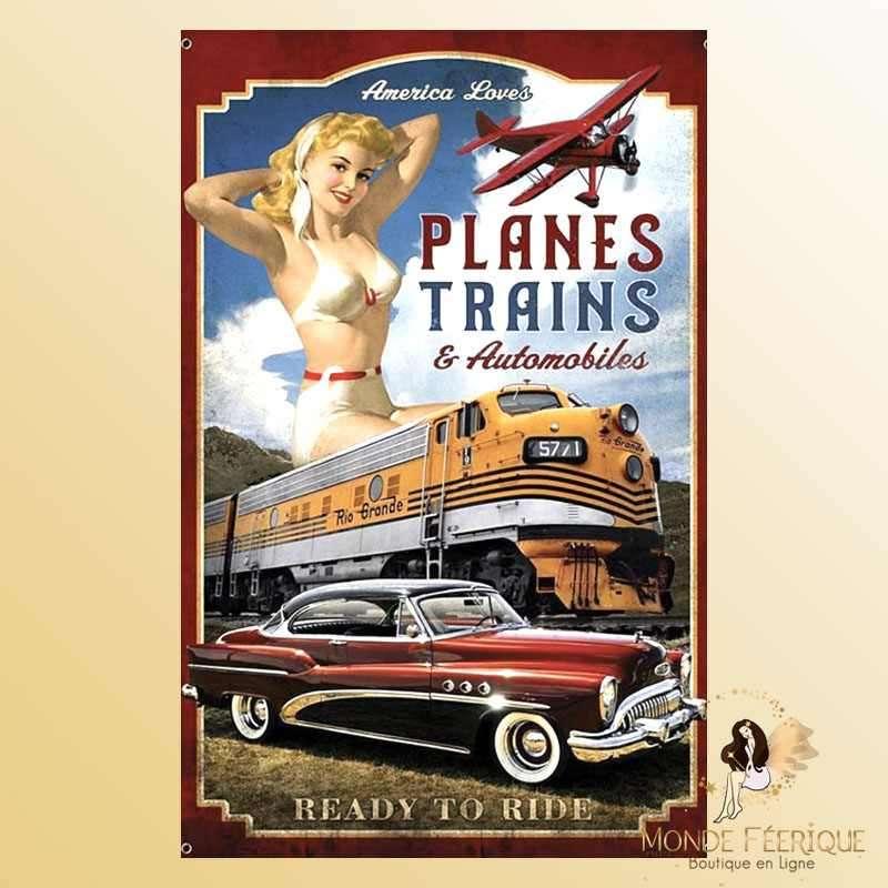 Plaque Mur Vintage Transports USA -- 20x30cm