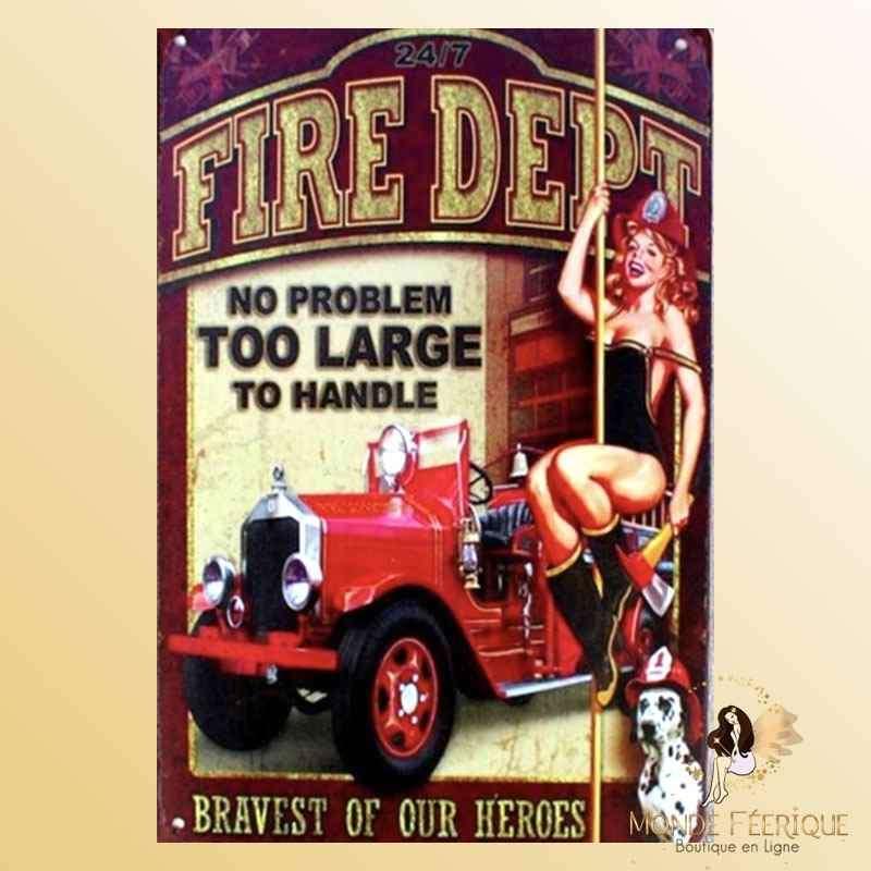 Plaque Mur Vintage Pompiers -- 20x30cm