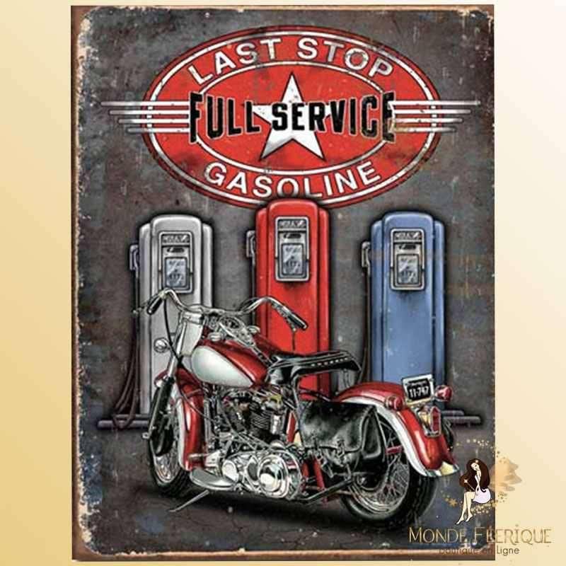 Plaque Mur Vintage Station service USA -- 20x30cm