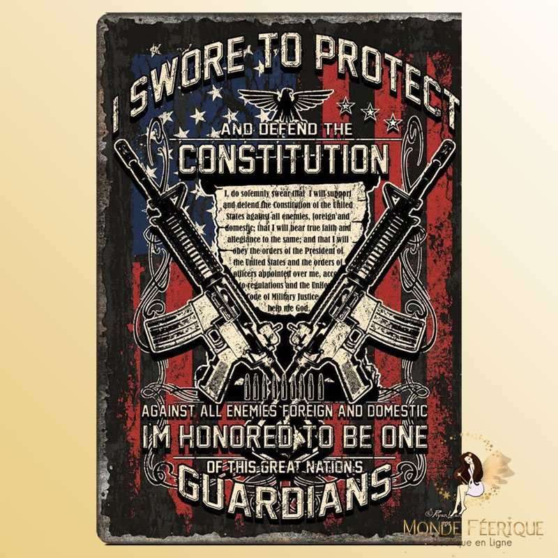 Plaque Mur Vintage USA constitution -- 20x30cm