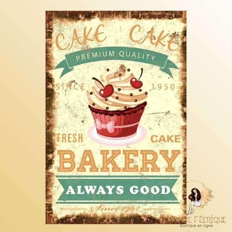 Plaque Mur Vintage Cupcake et patisserie-- 20x30cm
