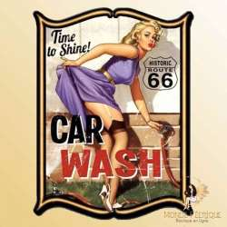 Plaque Mur Vintage Pin up Sexy Lavage de voitures -- 20x30cm