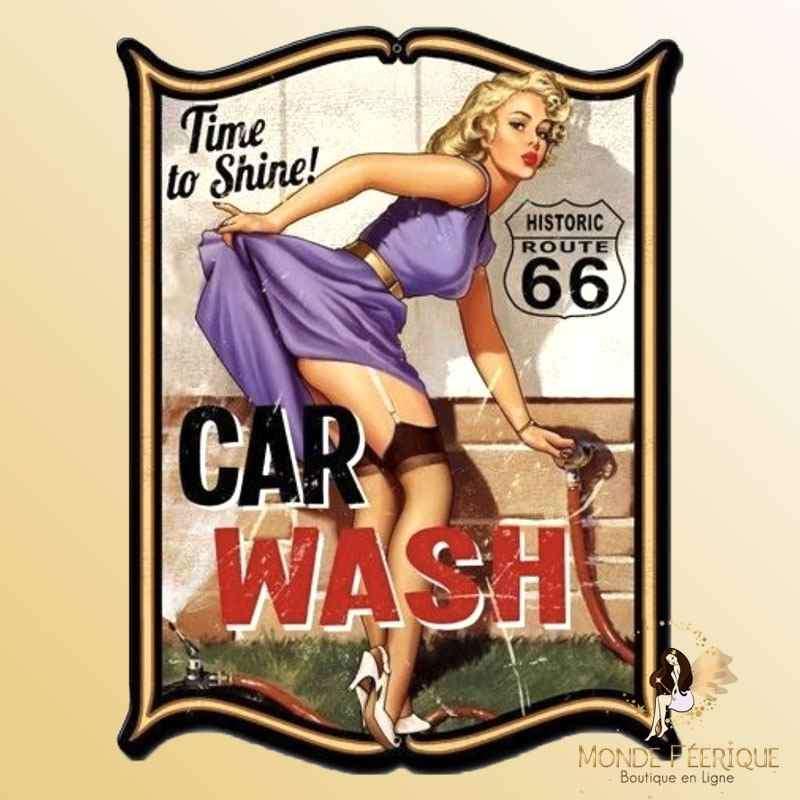 Plaque Mur Vintage Pin up Sexy Lavage de voitures -- 20x30cm