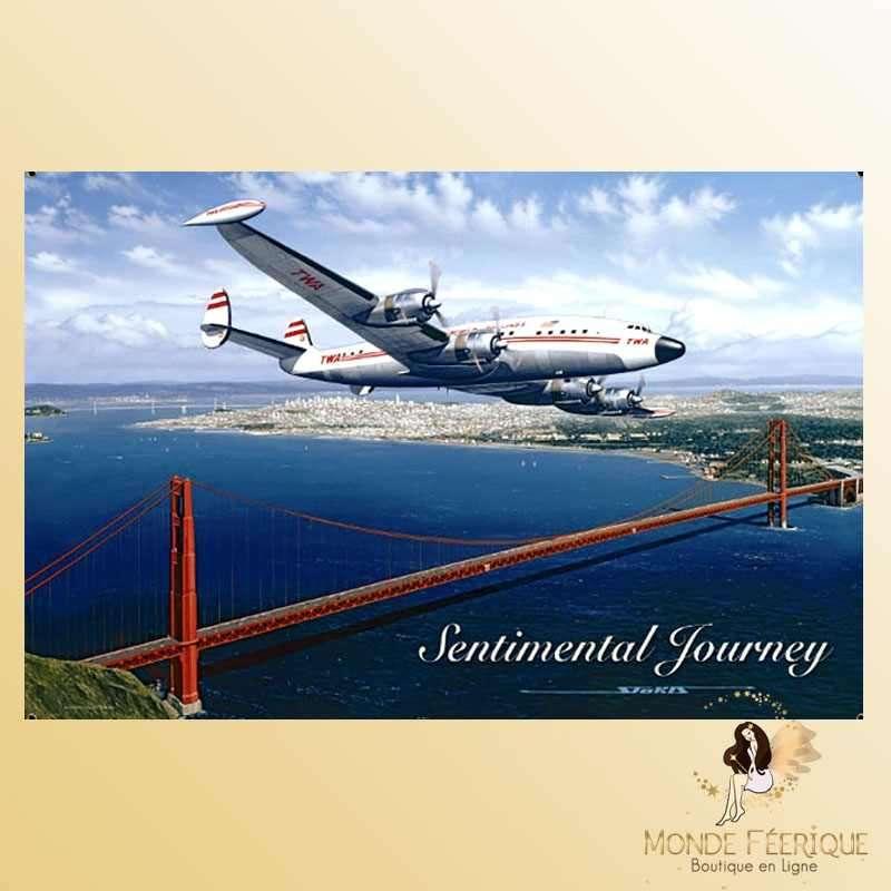 Plaque Mur Vintage TWA avion Americain -- 20x30cm