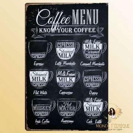 Plaque Mur Vintage café