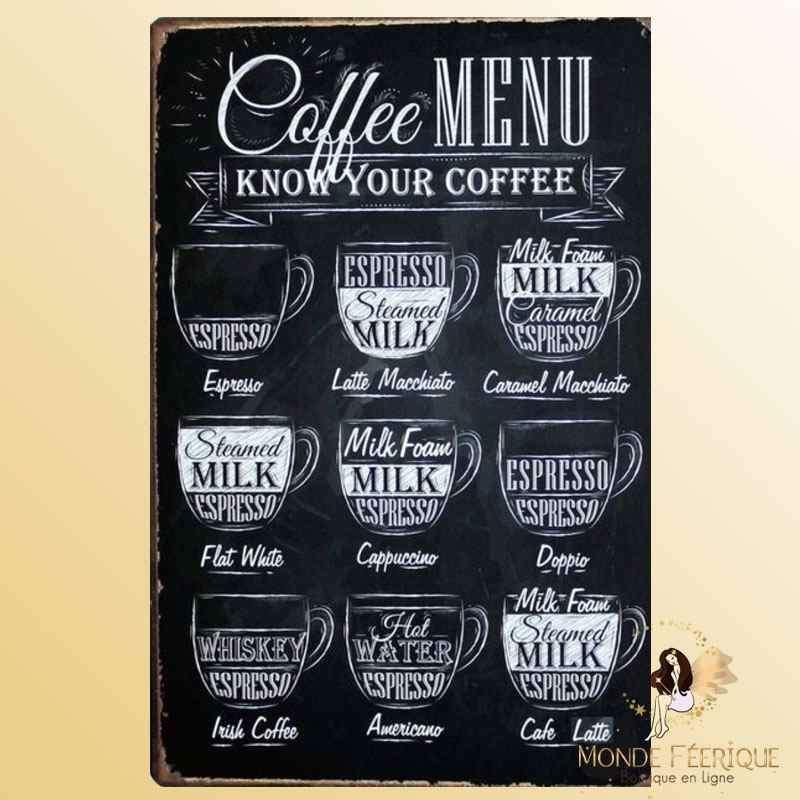 Plaque Mur Vintage café -- 20x30cm