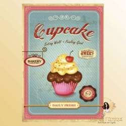 plaque metal cupcake retro