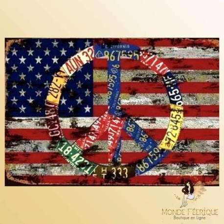 plaque metal deco drapeau USA americain peace and love hippy