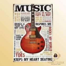 plaque metal deco guitare musique