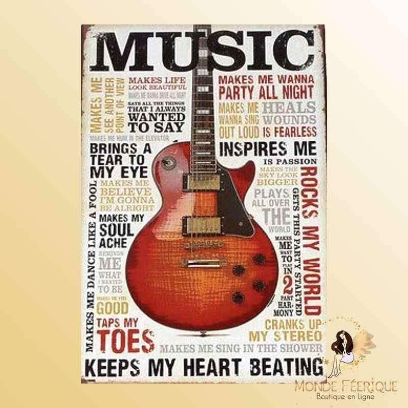 Plaque Mur Vintage Guitare Electrique Rock -- 20x30cm