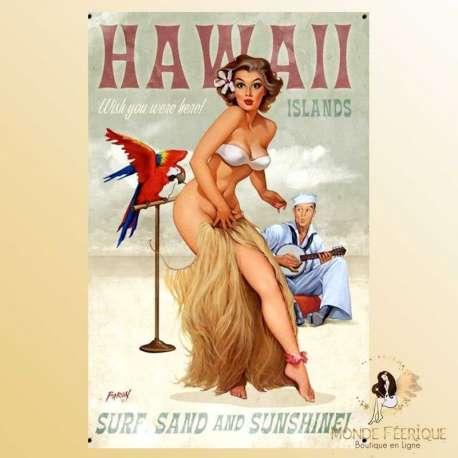 plaque metal decoration hawai pub publicite ancienne vintage retro
