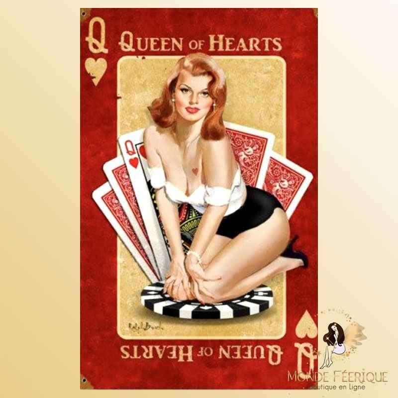 Plaque Décoration Vintage Dame de Coeur Poker-- 20x30cm