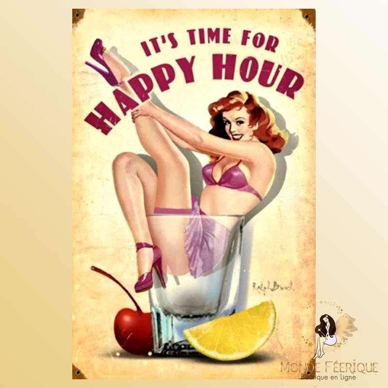 Plaque Décoration Vintage Happy Hour -- 20x30cm