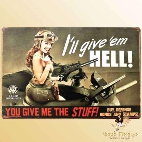 plaque metal militaire decoration armee americaine