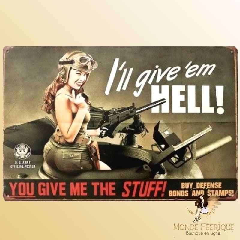 Plaque Décoration Vintage Pin Up armée americaine -- 20x30cm