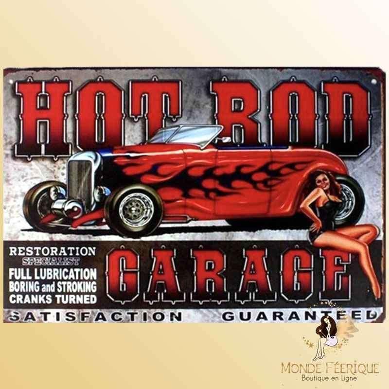 Plaque Décoration Vintage Garage US -- 20x30cm