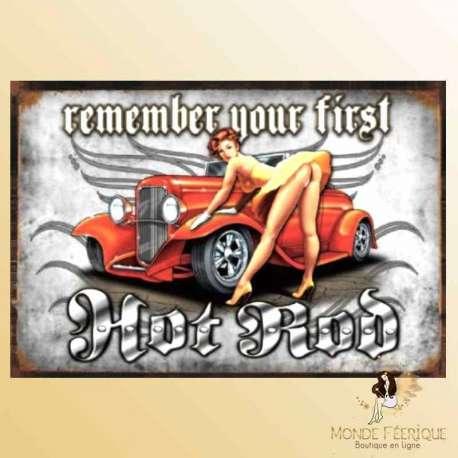 plaque metal pin up vintage retro voiture ancienne
