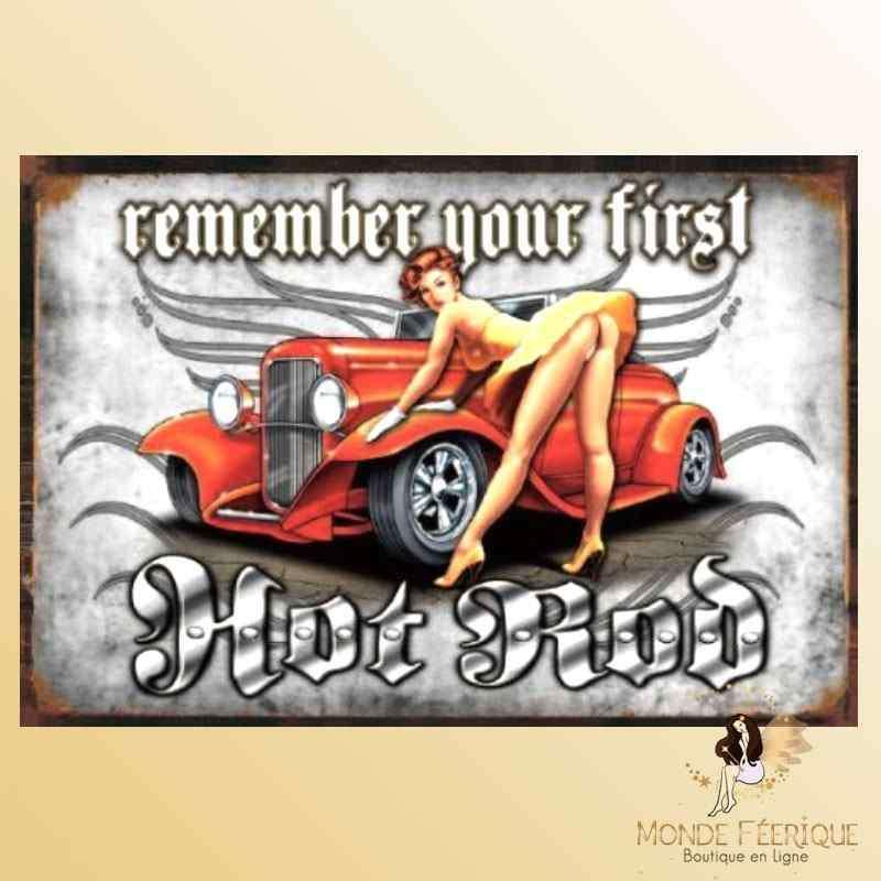 Plaque Décoration Vintage Pin Up Sexy et Autos
