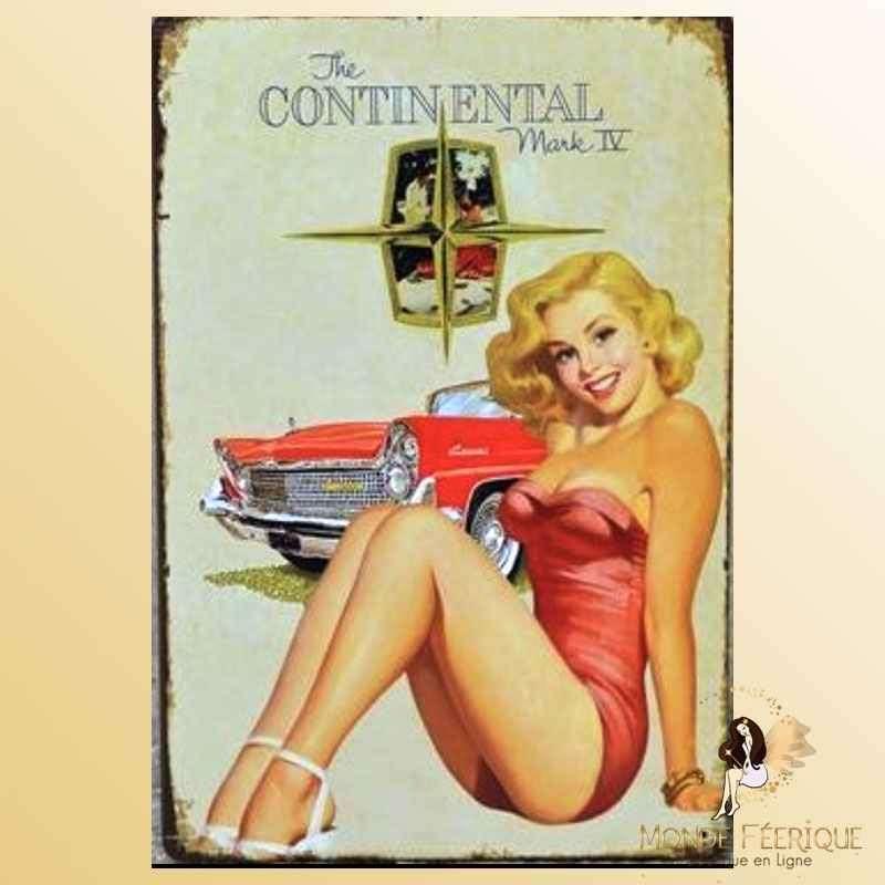 Plaque Décoration Vintage Pin Up Continental -- 20x30cm