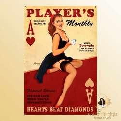 plaque metal publicite ancienne industrielle poker pin up
