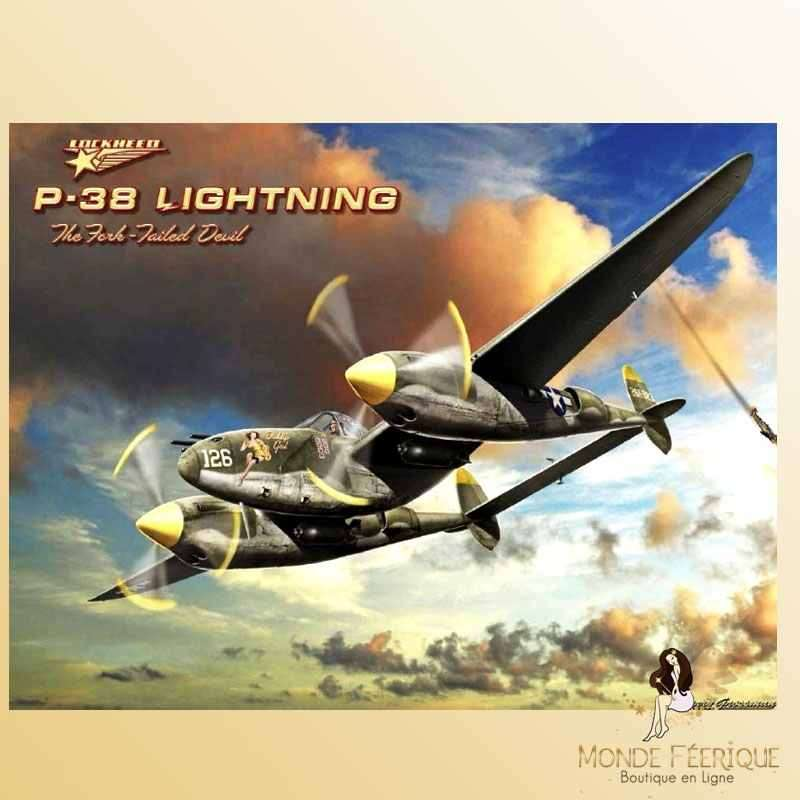 Plaque Décoration Vintage Avions P38-- 20x30cm