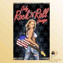 plaque metal rock usa rockeuse decoration murale mur plaque vintage