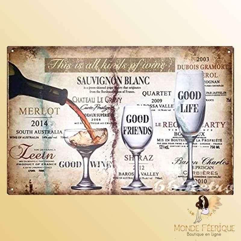 Plaque Déco Vintage Vins -- 20x30cm