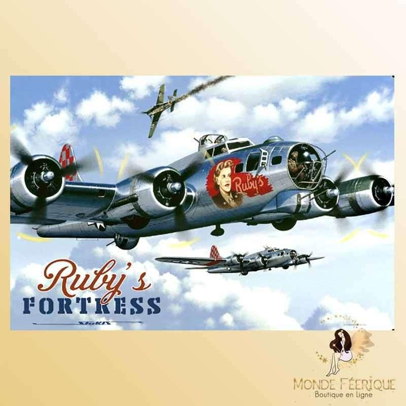 Plaque Déco Vintage Avion de Guerre Mitrailleur -- 20x30cm