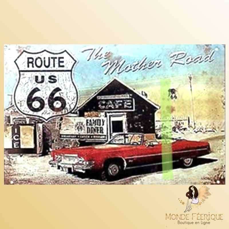 Plaque Déco Vintage Route66 Mother Road -- 20x30cm