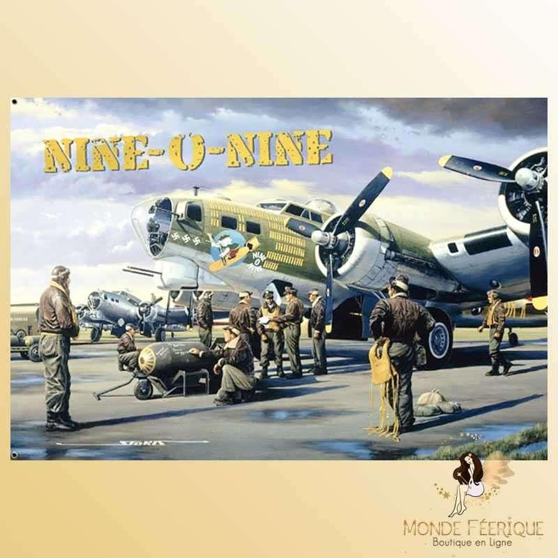 Plaque Déco Vintage Nine O Nine Bombardier USA