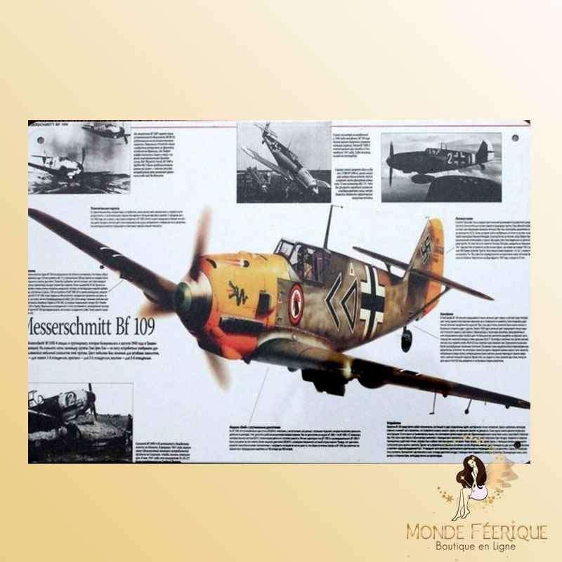 Plaque Déco Vintage MesserSchmitt BF109-- 20x30cm