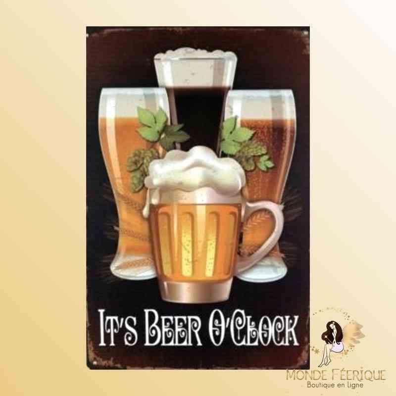 Plaque Déco Vintage l'heure de la Bière -- 20x30cm