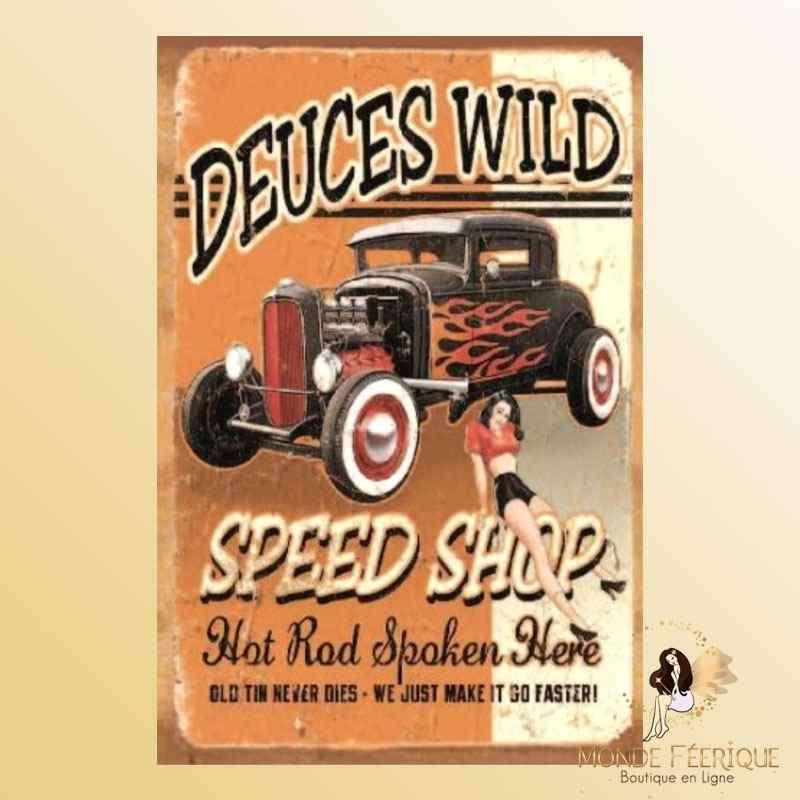 Plaque Déco Vintage Anciennes voitures & Pin Up -- 20x30cm