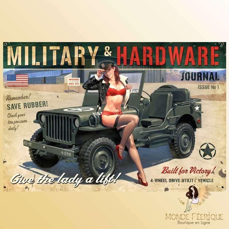 Plaque Déco Vintage MILITARY USA Pin Up -- 20x30cm