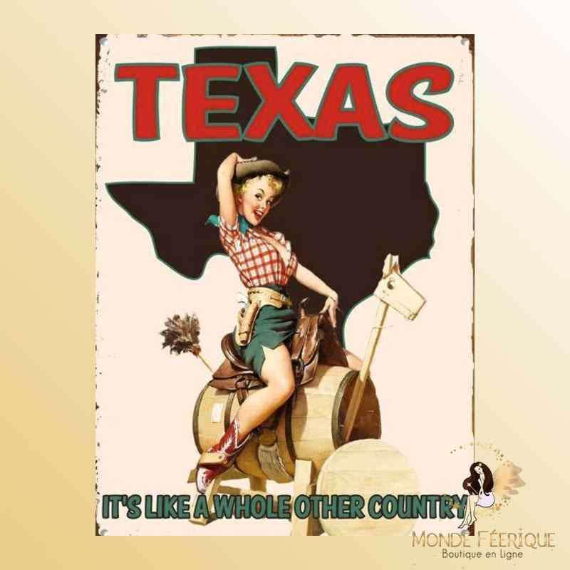 Plaque Déco Vintage Texas USA -- 20x30cm