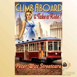 plaque mur pin up publicité ancienne americaine tramway