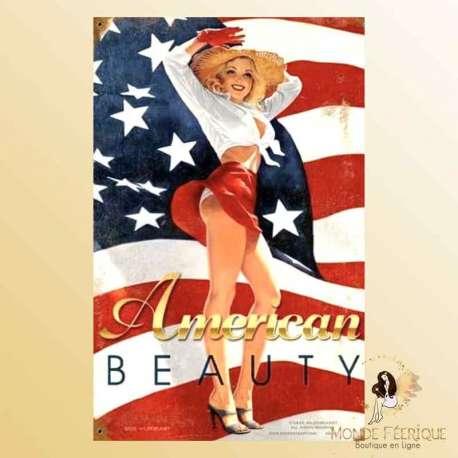 PLAQUE MUR pin USA americain vieille publicité décoration murale
