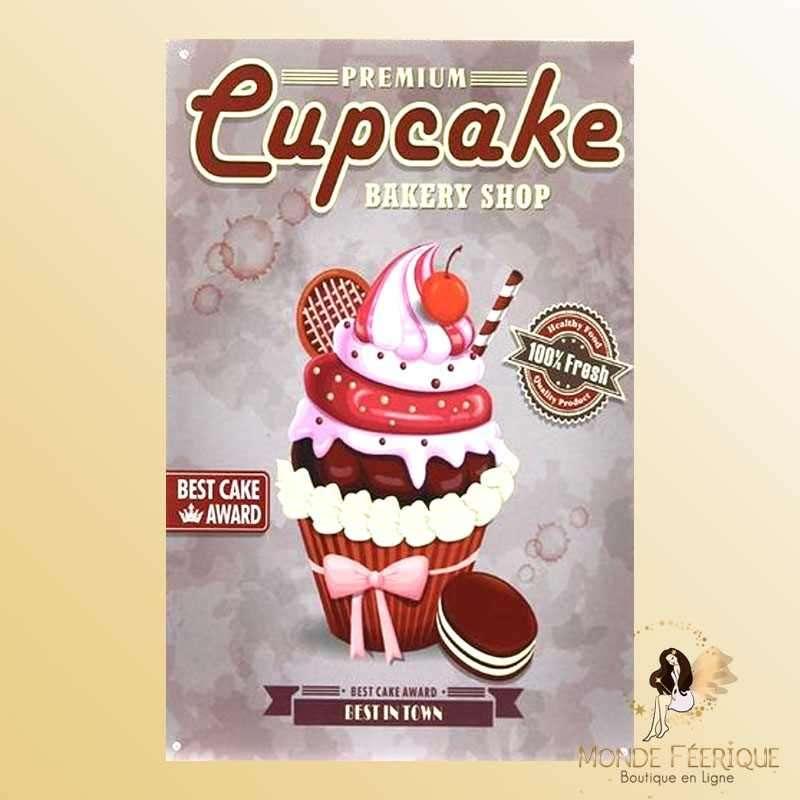 Plaque Déco Vintage Cupcake desserts -- 20x30cm