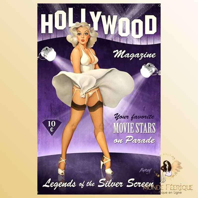 Plaque Déco Vintage Marylin Holywood -- 20x30cm
