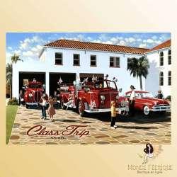 plaque publicitaire vintage pompiers USA