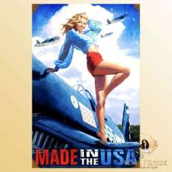 plaque publicite pub made in USA pin up