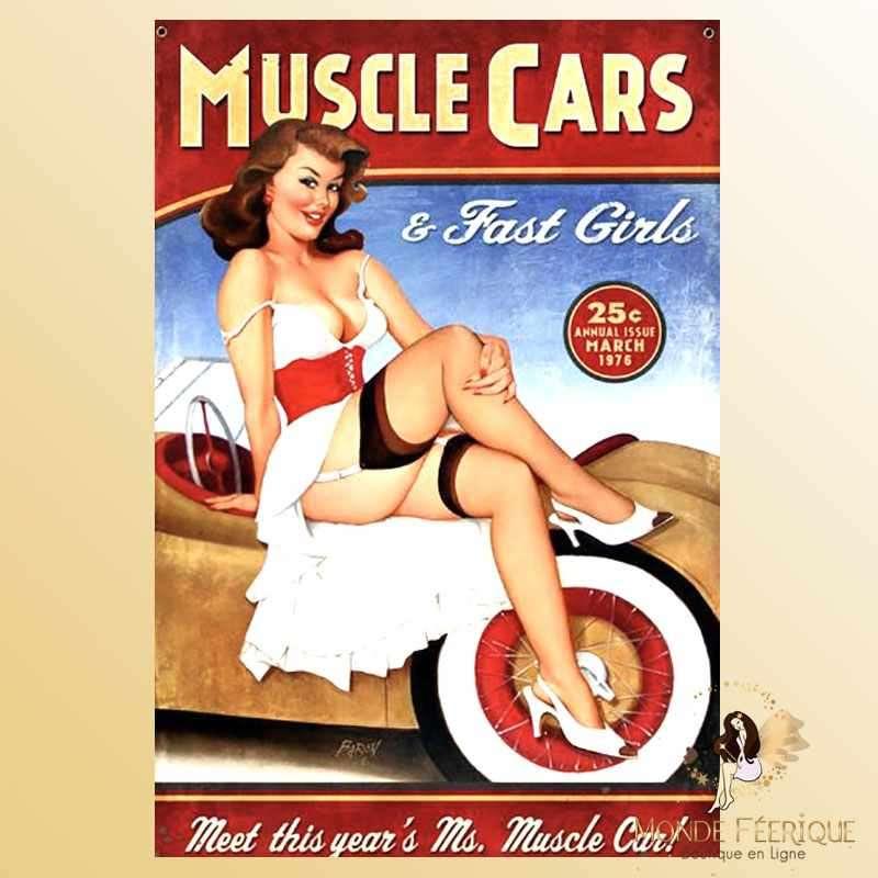 Plaque Déco Mur MUSCLE CARS publicite americaine-- 20x30cm