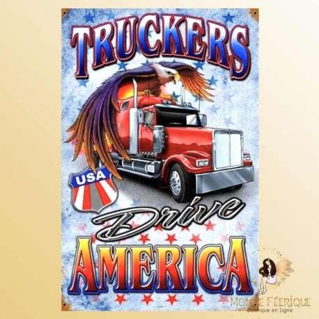 plaque retro deco americaine camion americain truck